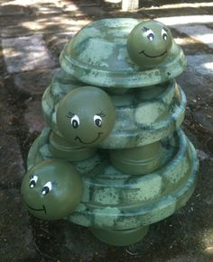 Turtle,turtle, and turtle!...great project for yard and garden made with terra cotta pots...complete instructions!