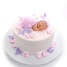Baby Shower Cake Baby Cake Topper with Blanket, Pink Flowers & Purple Butterflies Sugar Paste for… Torta Baby Shower, Tortas Baby Shower Niña, Girl Shower Cake, Baby Shower Cupcakes, Baby Shower Cake For Girls, Baby Shower Cake Toppers, Easy Baby Shower Cakes, Shower Baby, Baby Girl Cakes