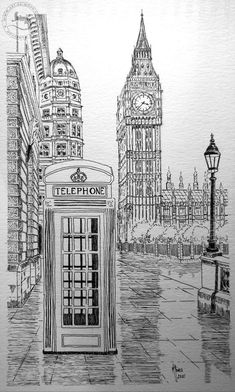 Interior Architecture Drawing, Architecture Drawing Sketchbooks, Cityscape Drawing, City Drawing, London Drawing, London Sketch, Perspective Art, Art Carved, Carved Wood