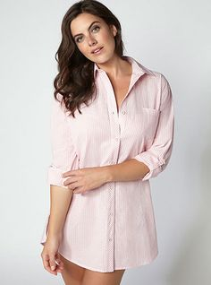 Tranquility Stripe Nightshirt - Pink  Mix | Boux Avenue