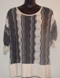 """Gray, Black, and White Sweater-Size 22/24 by Ashley Stewart-100% Acrylic-Width 53""""/Length 30""""-Stylish and warm"""