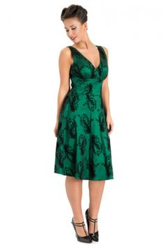 1950's classy emerald damast print dress | Retro jurkjes | Misspoppywear, retro boetiek