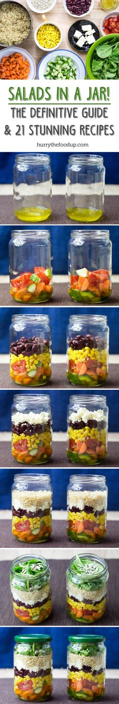 How to Pack a Salad in a Jar - The Definitive Guide & 21 stunning recipes to get you started on the right foot   hurrythefoodup.com