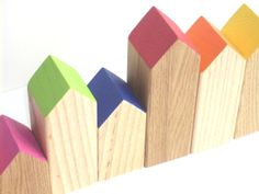 Rainbow Village  Set of 8 Wooden Block Houses by spiralkids, $51.00