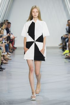Black and white design for this oversized dress from the #LacosteSS16 fashion show. ©Yannis Vlamos