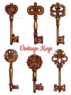 Old Vintage Metal Keys Vector Isolated Icons Set