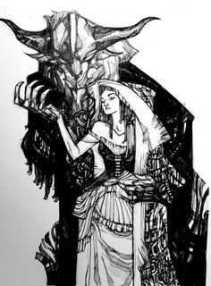 """ericcanete:  """"BELLE AND THE BEAST"""" Personal collection via Periscope app stream. Pen and ink. 9x12"""""""