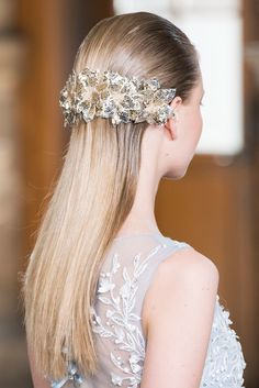 Slicked Back + Statement Piece - The Most Pinterest-Worthy Wedding Hairstyles from the Runway - Photos