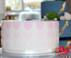 Ombré Pink Love Heart Single Tier Cake