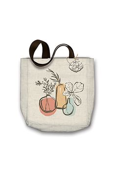 """Canvas Tote Bags by Molly & Rex Each cotton canvas tote bag features coordinating woven handle and matching hang tag attached with jute cord features metallic printing Bag size: 15"""" x 4"""" x 16"""" Hang Tags, Canvas Tote Bags, Jute, Cotton Canvas, Cord, Metallic, Printing, Reusable Tote Bags, Handle"""