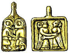 Sketches of guldgubbr - gold foils from the Viking Age (8th to 11th century approx) which appear to depict men and women embracing each other respectively. These foils usually depicted kissing and embracing heterosexual couples, but a few of them appear to depict same-sex couples such as these two.