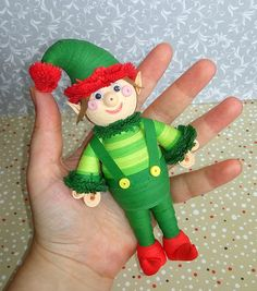Quilling art Christmas Elf toy Paper art Handmade toy