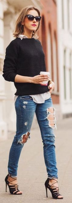 Distressed jeans, black sweater and white oxford