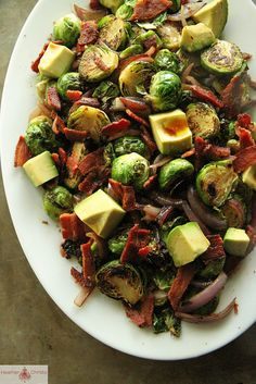 Brussels Sprouts with Red Onion, Bacon and Avocado