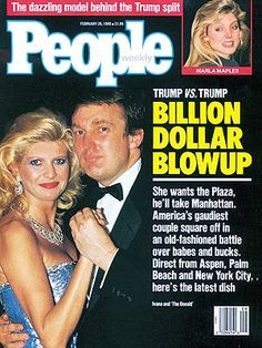 The New Girlfriend The reason for Ivana and Donald's divorce was this lovely lady, model Marla Maples. They had been having an affair while Donald was still married. Trump Family Tree, Donald Trump Family, Caricatures, Marla Maples, Ivana Trump, Nostalgia, The Trump Organization, John Trump, People Magazine