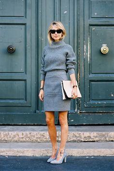 All grey monochrome style is effortlessly chic for the office.