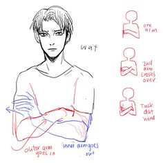 Anime Drawing Tutorial Draw arms crossed over. by the way, he looks like he wants to kill titans. - Anonymous said: Hiya how do you draw arms crossed over? Drawing Reference Poses, Anatomy Reference, Drawing Poses, Drawing Tips, Drawing Hair, Hand Reference, Arm Drawing, Drawing Stuff, Sketching Tips