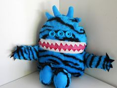 Cuddle Monster Pillow Pal TIGE zipper mouth by MostlyMonstersCV, $27.95