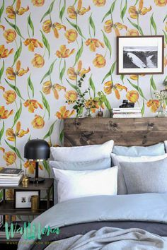 Tulip Flower Pattern Wallpaper - Tulip Removable Wallpaper - Tulip Wall Sticker - Tulip Wall Decal - Tulip Self Adhesive Wallpaper