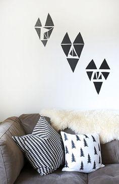 Black Triangular Wall Hearts