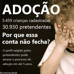 Via CNJ - Adoção - O processo de adoção no Brasil leva, em média, um ano. No entanto, pode durar bem mais se o perfil apresentado pelo adotante para a criança for muito diferente do disponível no cadastro. Confira o passo a passo da adoção no Brasil: www.cnj.jus.br/snnc. #seusdireitos