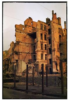 During World War II of Warsaw was destroyed. Dramatic snaps in colour show the centre of the city, including Śródmieście, Old Town and m. Warsaw Poland, Bad Memories, Color Show, Colour, World War Ii, Old Town, Mount Rushmore, Mountains, City
