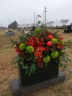 Gorgeous cemetery arrangement from Rabbit's Nest Florist and Gifts in Madison, AL Grave Flowers, Cemetery Flowers, Funeral Flowers, Silk Flowers, Flowers For Mom, Amazing Flowers, Cemetary Decorations, Funeral Sprays, Casket Sprays