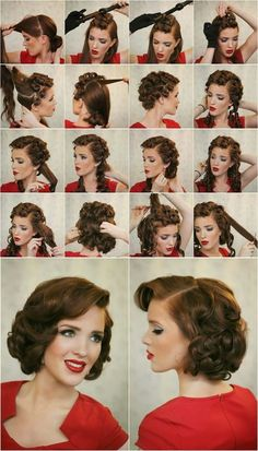 If you are looking for classy and glamorous hairstyle for your first date,some family special events or wedding, Pin Up Curl Updos For Medium Length Hair or the vintage or retro hairstyle is perfect .