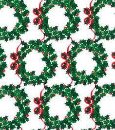 Made In the USA Christmas Fabric- Wreaths Green