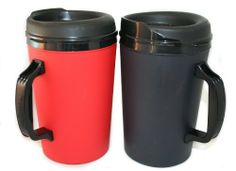 """2 ThermoServ Foam Insulated Coffee Mugs 34 oz (1) Black & (1) Red by ThermoServ. $15.38. A good coffee mug is like a comfortable pair of Jeans or your favorite boots - it just feels """"right"""". The 34oz mug was the large size that was available at most Gas Stations and Convenience Stores. A few years ago they suddenly disappeared from the market and haven't been seen since. Well, we found the mold and arranged for a special production run of mugs. These mugs are produce..."""