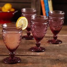 The Pioneer Woman Adeline Embossed 12-Ounce Footed Glass Goblets, Set of 4 - Walmart.com  in PLUM!