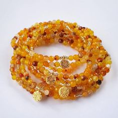 Boho Jewelry, Gemstone Jewelry, Agate Beads, Bracelet Making, Seed Beads, Mandala, Gemstones, Sunset, Orange