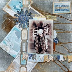 Frosty Mornings 1 Layout 3 ways by Irene Tan using BoBunny Whiteout Collection. #BoBunny @scrapperlicious