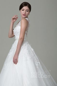 7879d9748989c3 Queenly A-Line Illusion Natural Court Train Tulle Ivory Sleeveless Zipper Wedding  Dress with Appliques Beading Flower and Sashes LWXT1408E