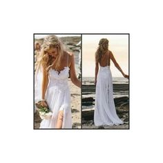 2015 Spaghetti Strap Backless Beach Bridal Gown- Split Front White Lace Go To www.theweddingboutique.co