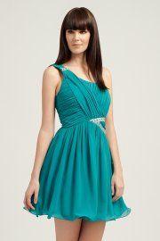 Little Mistress Teal One Shoulder Art Deco Embellished Dress