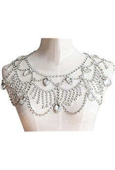 Wiipu Women Wedding Jewelry Silver Tone Clear Rhinestone Shoulder Deco Bib Necklace(a1013)