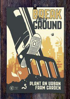 Break New Ground screen print poster by joeseppi on Etsy