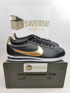 NEW Nike Classic Cortez BLACK METALLIC GOLD WHITE 902801-002 sz 10.5 #Nike #Cortez