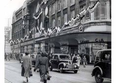 C & A store Church Street Liverpool decorated for the coronation in 1953 Liverpool Life, Liverpool History, Liverpool England, Salford, Southport, New City, Travel Memories, The Good Old Days, Wonderful Places