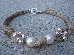 Collier lin Noeux XL Perles Fantasie Perles par espurna88 sur Etsy