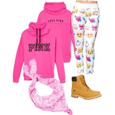#PINK by og-flygirl-z on Polyvore featuring polyvore, fashion, style, Victoria's Secret, Timberland and Sally&Circle