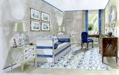 An Office and A Gentleman: illustration of an gentleman's office in greys, whites, and navy blues. Interior Designer: Jane Churchill.