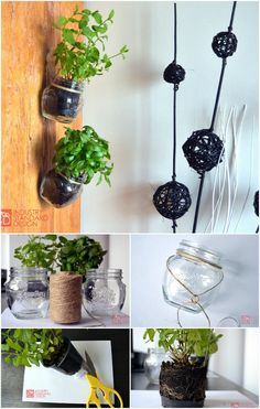 22 Genius DIY Home Decor Projects: A recycled and cool hanging mason jars can be excellent herb pots, which can certainly get your guests' attention! Check out these Genius DIY Home Decor Projects You Would Definitely Like! Mason Jar Herbs, Mason Jar Herb Garden, Mason Jar Diy, Doily Garland, Diy Wand, Apartment Decoration, Apartment Design, Hanging Herbs, Diy Hanging