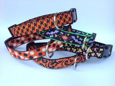 Spiders and Bats Halloween Dog Collar by Jazzy J Designs on Etsy, $15.00