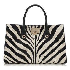 Black and White Zebra Print Pony Tote Bag   Riley   Spring Summer 15   JIMMY CHOO