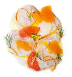 Scallop Crudo - looks gorgeous! Many other fabulous recipes linked to this Sushi Recipes, Raw Food Recipes, Seafood Recipes, Ceviche, Sashimi, Chefs, Seven Fishes, Fennel Recipes, Dinner Party Recipes
