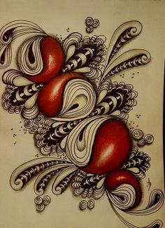 Zentangle and croissant with some bubbles and stripes Dibujos Zentangle Art, Zentangle Drawings, Doodles Zentangles, Doodle Drawings, Tangle Doodle, Zen Doodle, Doodle Art, Zantangle Art, Zen Art