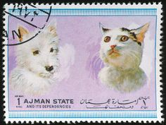 Ajman State 1972 Cat and Dog stamps.
