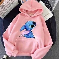 Cute Disney Outfits, Cute Lazy Outfits, Teenage Outfits, Teen Fashion Outfits, Lilo And Stitch Hoodie, Lilo Stitch, Stylish Hoodies, Cute Hoodie, Casual Tops